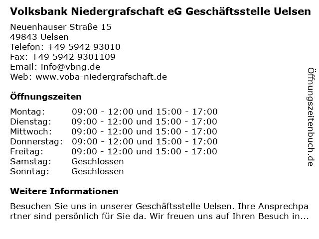 Volksbank Niedergrafschaft eG Geschäftsstelle Uelsen in Uelsen: Adresse und Öffnungszeiten
