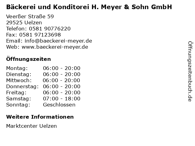 Bäckerei und Konditorei H. Meyer & Sohn GmbH in Uelzen: Adresse und Öffnungszeiten