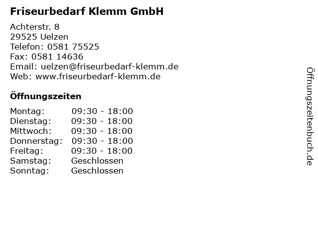 Friseurbedarf Klemm GmbH in Uelzen: Adresse und Öffnungszeiten