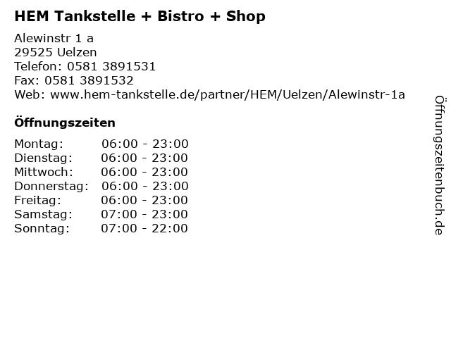 HEM Tankstelle + Bistro + Shop in Uelzen: Adresse und Öffnungszeiten