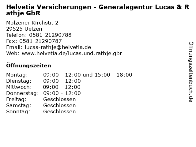 ᐅ Offnungszeiten Helvetia Versicherungen Generalagentur Lucas