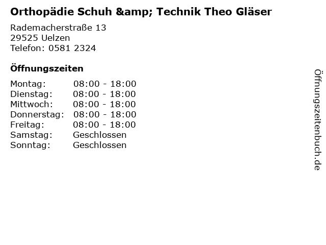 Orthopädie Schuh & Technik Theo Gläser in Uelzen: Adresse und Öffnungszeiten