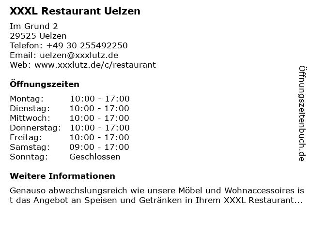 ᐅ öffnungszeiten Xxxl Restaurant Uelzen Im Grund 2 In Uelzen