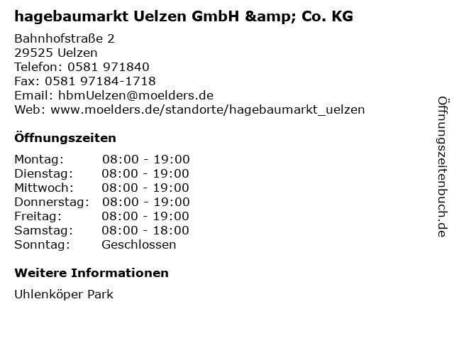 hagebaumarkt Uelzen GmbH & Co. KG in Uelzen: Adresse und Öffnungszeiten