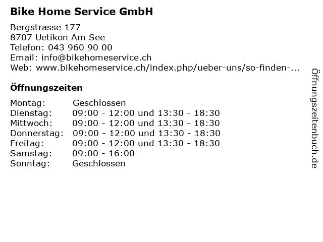 Bike Home Service GmbH in Uetikon Am See: Adresse und Öffnungszeiten