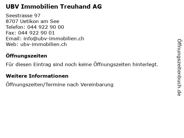 UBV Immobilien Treuhand AG in Uetikon am See: Adresse und Öffnungszeiten