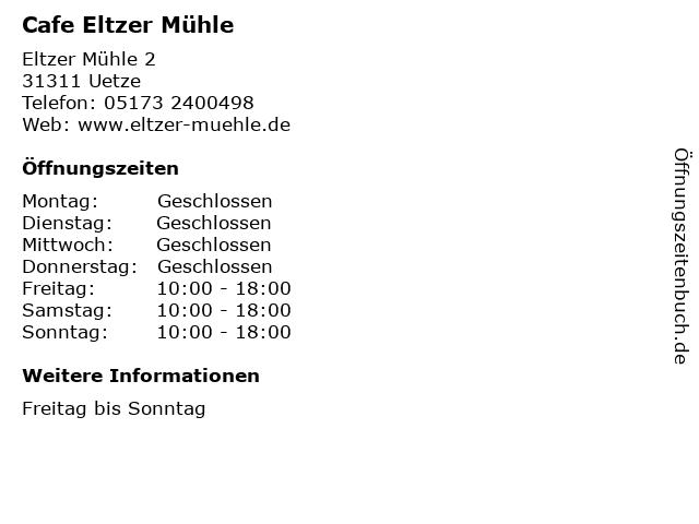 Cafe Eltzer Mühle in Uetze: Adresse und Öffnungszeiten