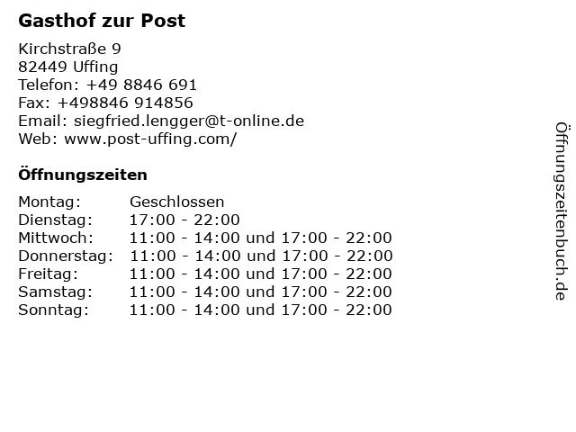 Gasthof zur Post in Uffing: Adresse und Öffnungszeiten