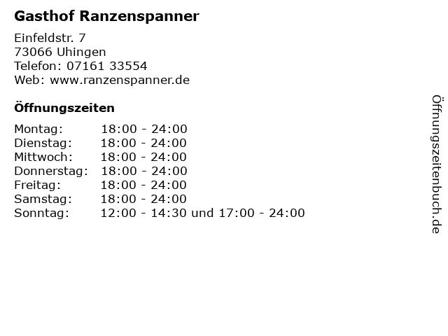 Gasthof Ranzenspanner in Uhingen: Adresse und Öffnungszeiten