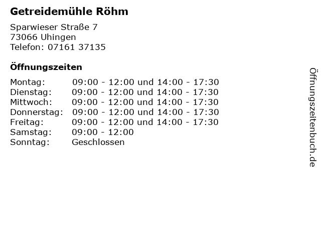 Getreidemühle Röhm in Uhingen: Adresse und Öffnungszeiten