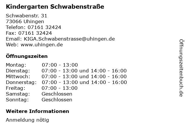 Kindergarten Schwabenstraße in Uhingen: Adresse und Öffnungszeiten