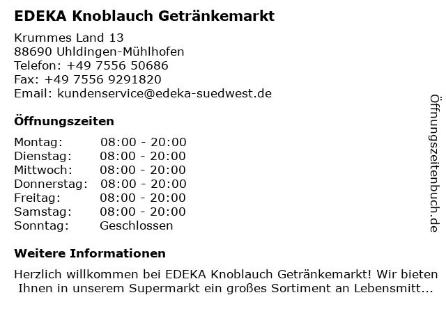 EDEKA Knoblauch Getränkemarkt in Uhldingen-Mühlhofen: Adresse und Öffnungszeiten