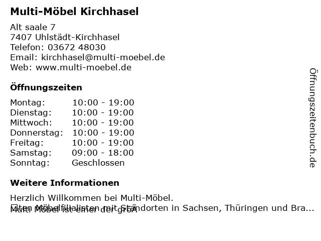 ᐅ Offnungszeiten Multi Mobel Handel Gmbh Alt Saale 7 In Kirchhasel
