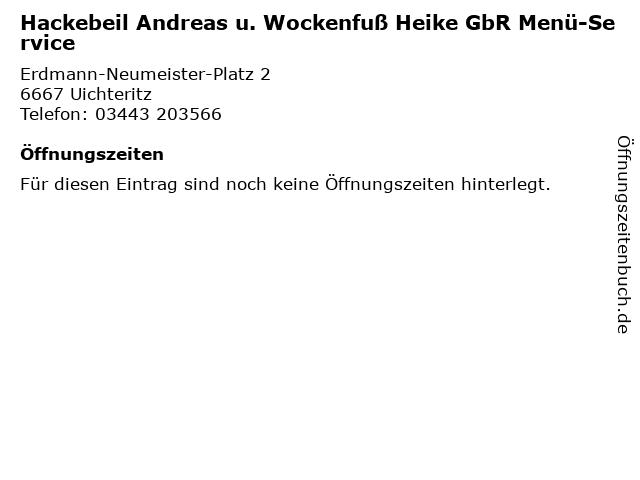 Hackebeil Andreas u. Wockenfuß Heike GbR Menü-Service in Uichteritz: Adresse und Öffnungszeiten