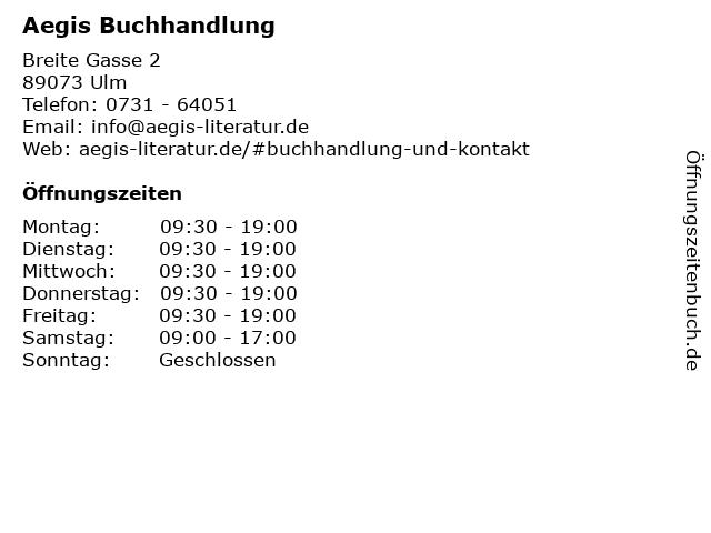 Aegis Buchhandlung in Ulm: Adresse und Öffnungszeiten