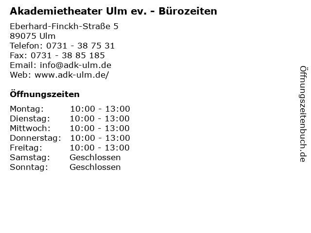 Akademietheater Ulm ev. - Bürozeiten in Ulm: Adresse und Öffnungszeiten