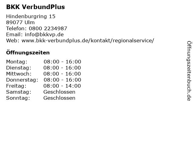 BKK VerbundPlus in Ulm: Adresse und Öffnungszeiten