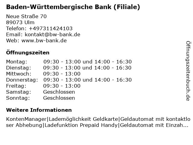 ᐅ öffnungszeiten Bw Bank Baden Württembergische Bank Neue Str