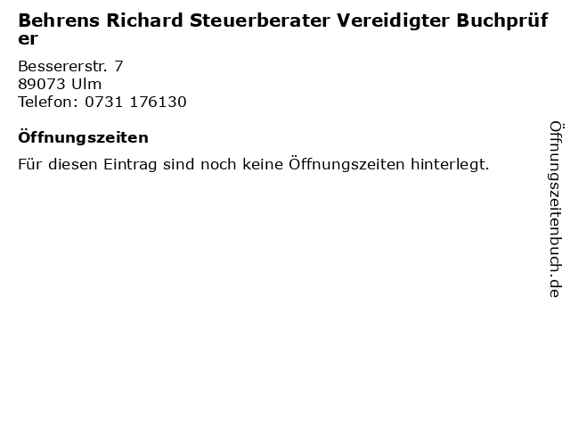 Behrens Richard Steuerberater Vereidigter Buchprüfer in Ulm: Adresse und Öffnungszeiten
