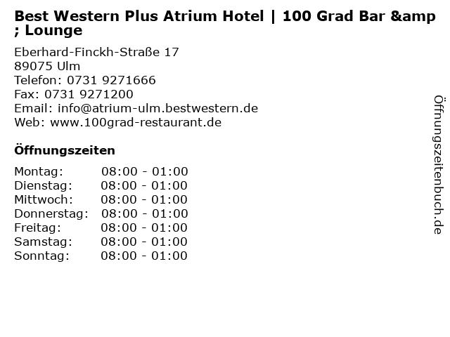 Best Western Plus Atrium Hotel | 100 Grad Bar & Lounge in Ulm: Adresse und Öffnungszeiten