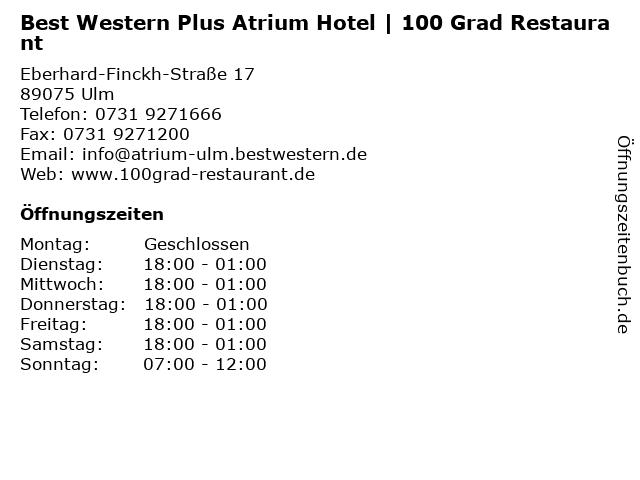 Best Western Plus Atrium Hotel | 100 Grad Restaurant in Ulm: Adresse und Öffnungszeiten