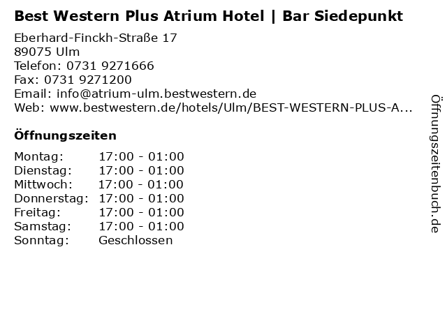 Best Western Plus Atrium Hotel   Bar Siedepunkt in Ulm: Adresse und Öffnungszeiten