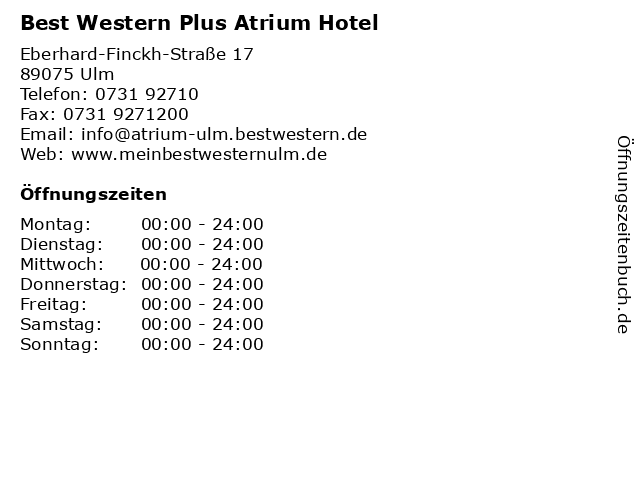 Best Western Plus Atrium Hotel in Ulm: Adresse und Öffnungszeiten