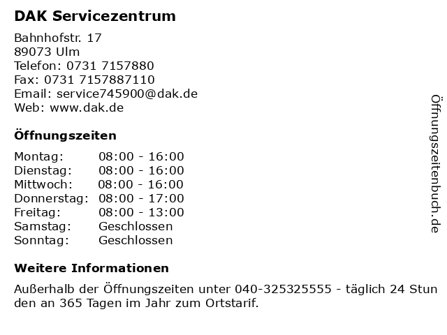 DAK Servicezentrum in Ulm: Adresse und Öffnungszeiten
