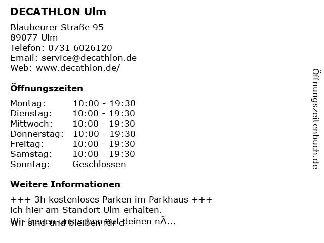 Decathlon Sportspezialvertriebs GmbH in Ulm: Adresse und Öffnungszeiten