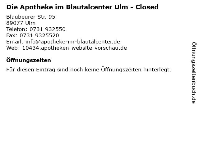 Die Apotheke im Blautalcenter in Ulm: Adresse und Öffnungszeiten