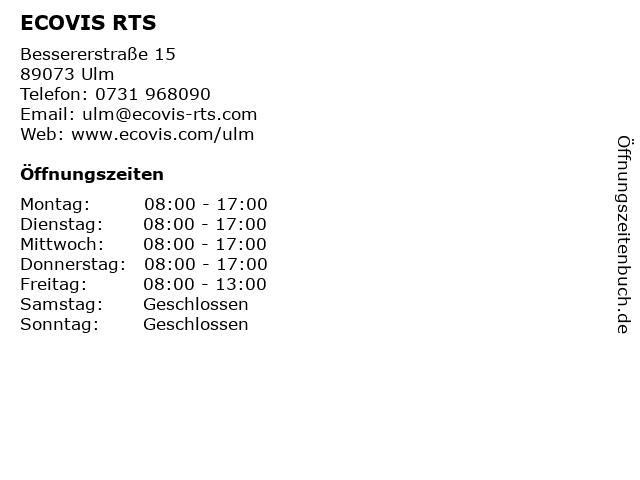 ECOVIS RTS Steuerberatungsgesellschaft mbH & Co. KG, Niederlassung Ulm in Ulm: Adresse und Öffnungszeiten