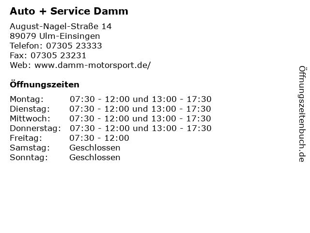 Auto + Service Damm in Ulm-Einsingen: Adresse und Öffnungszeiten