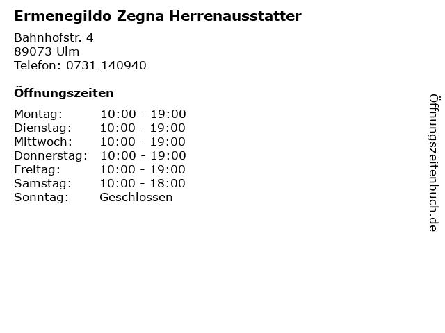 Ermenegildo Zegna Herrenausstatter in Ulm: Adresse und Öffnungszeiten