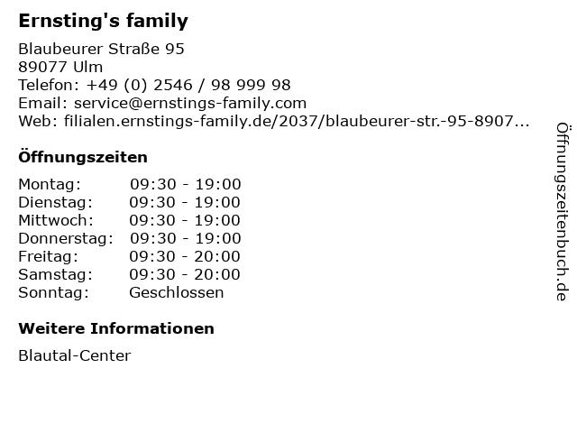 Ernsting's family in Ulm: Adresse und Öffnungszeiten