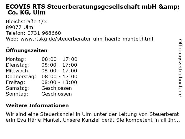 Eva Härle-Mantel Steuerberater in Ulm: Adresse und Öffnungszeiten