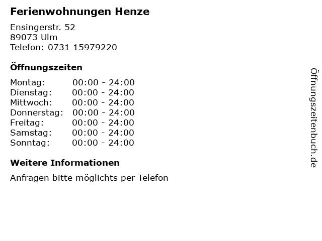 Ferienwohnungen Henze in Ulm: Adresse und Öffnungszeiten