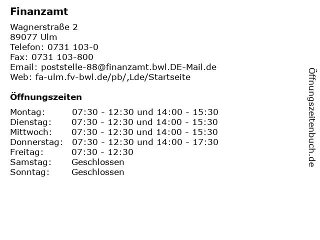 Finanzamt in Ulm: Adresse und Öffnungszeiten