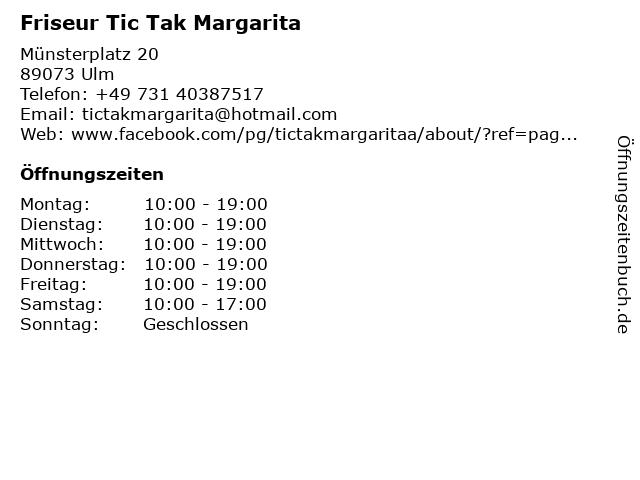 Friseur Tic Tak Margarita in Ulm: Adresse und Öffnungszeiten