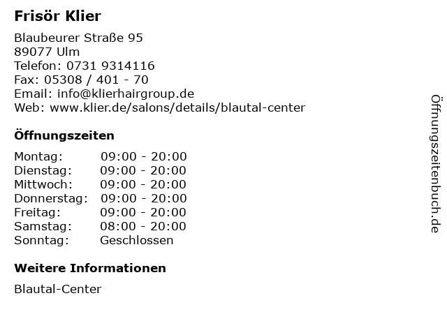 Frisör Klier in Ulm: Adresse und Öffnungszeiten