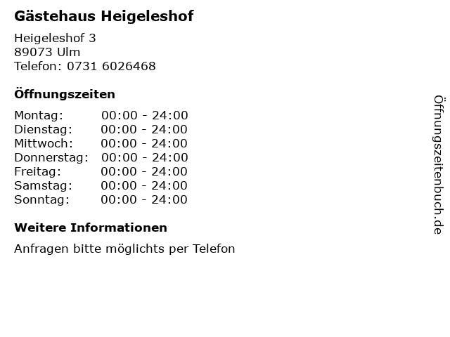 Gästehaus Heigeleshof in Ulm: Adresse und Öffnungszeiten
