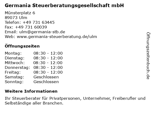 Germania Steuerberatungsgesellschaft mbH in Ulm: Adresse und Öffnungszeiten