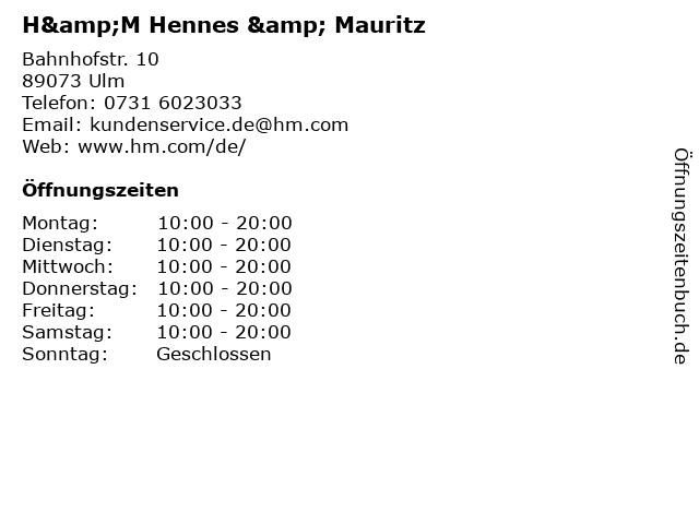 H&M Hennes & Mauritz in Ulm: Adresse und Öffnungszeiten