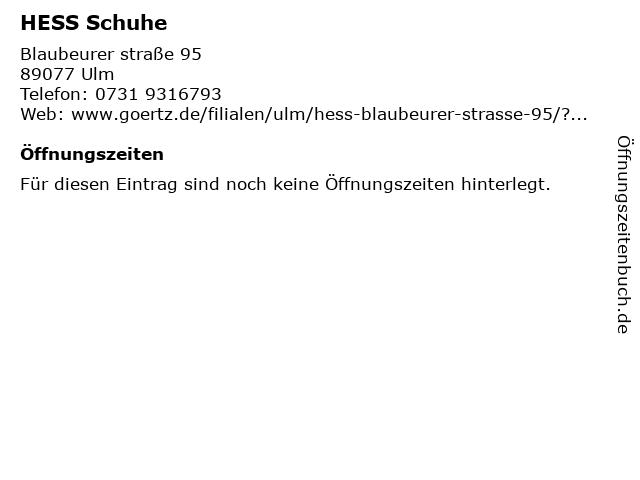 HESS Schuhe in Ulm: Adresse und Öffnungszeiten