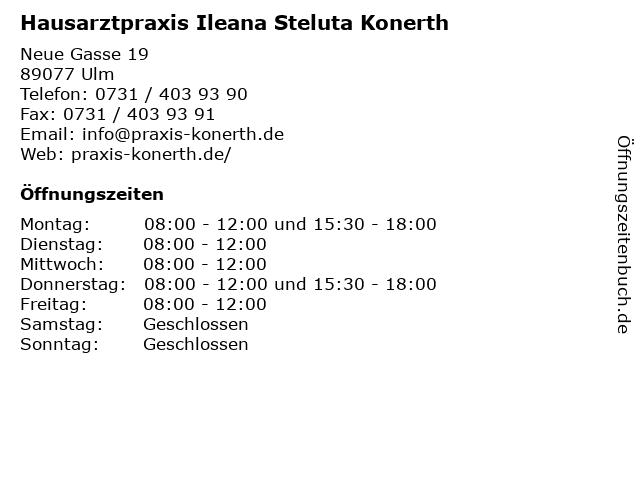Hausarztpraxis Ileana Steluta Konerth in Ulm: Adresse und Öffnungszeiten