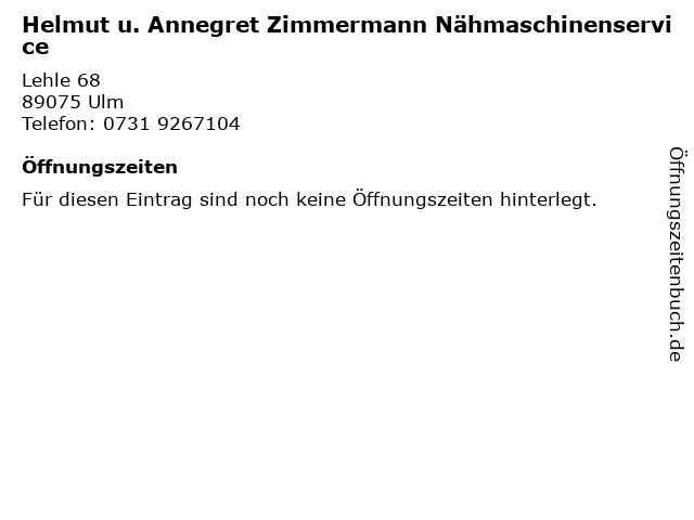 Helmut u. Annegret Zimmermann Nähmaschinenservice in Ulm: Adresse und Öffnungszeiten