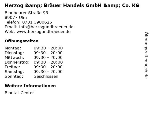 Herzog & Bräuer Handels GmbH & Co. KG in Ulm: Adresse und Öffnungszeiten