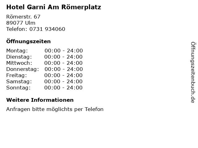 Hotel Garni Am Römerplatz in Ulm: Adresse und Öffnungszeiten