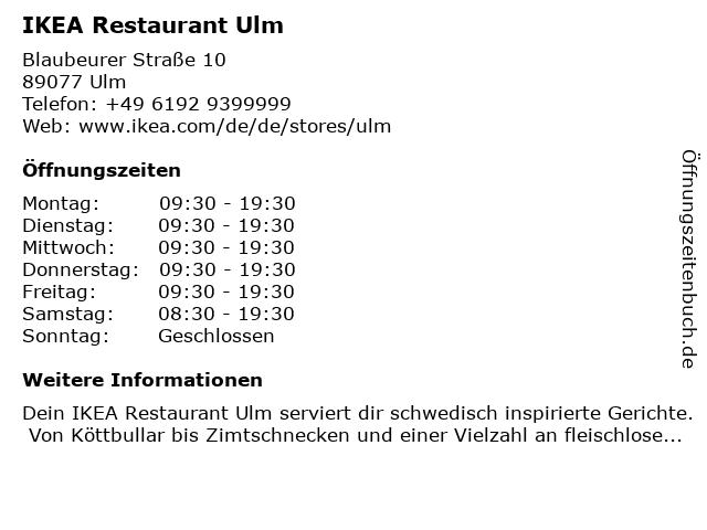 IKEA Deutschland GmbH & Co. KG (Restaurant) in Ulm: Adresse und Öffnungszeiten