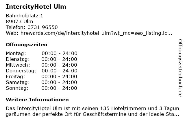IntercityHotel in Ulm: Adresse und Öffnungszeiten