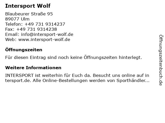 Intersport Wolf in Ulm: Adresse und Öffnungszeiten